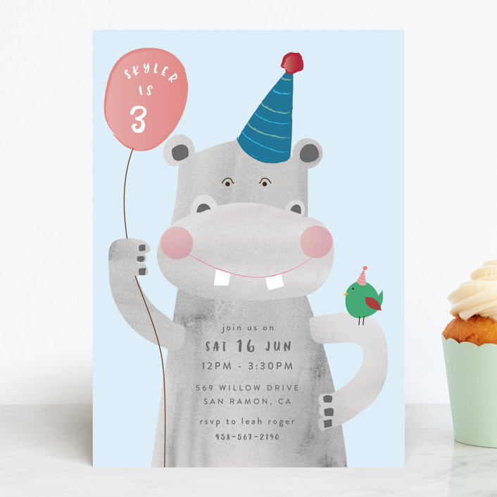 """""""Party Hippo"""" - Children's Birthday Party Invitations in Coral by Kanika Mathur."""