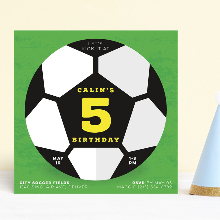 """""""Soccer"""" - Children's Birthday Party Invitations in Sunshine by Kate Ahn."""