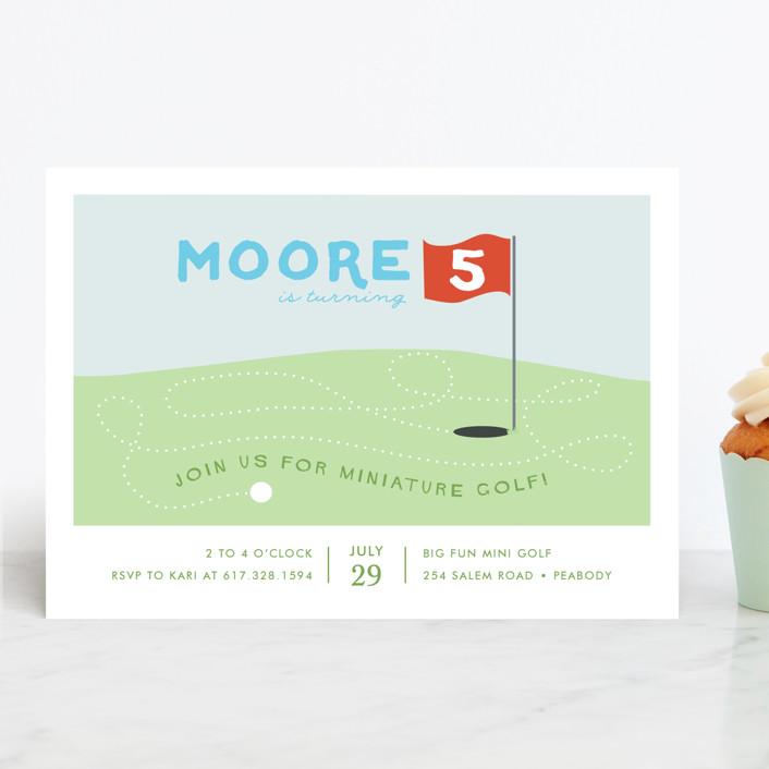 """Mini Golfers"" - Children's Birthday Party Invitations in Pumpkin by Fraser Lane."