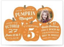 This is a orange kids birthday invitation by Laura Hankins called Pumpkin Patch with standard printing on smooth signature in standard.