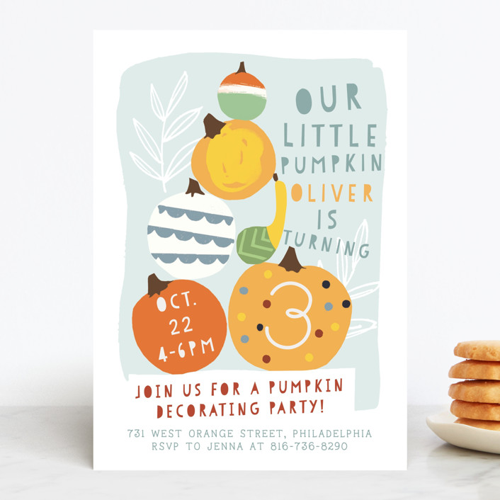 """""""Pumpkin Party"""" - Children's Birthday Party Invitations in Sky by Michelle Shanaman."""