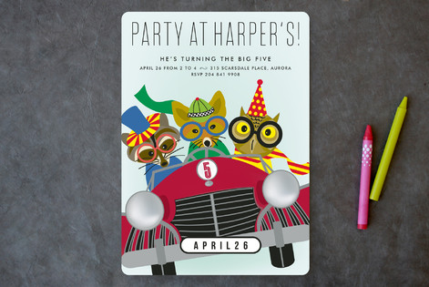 Race Car Party Children's Birthday Party Invitations