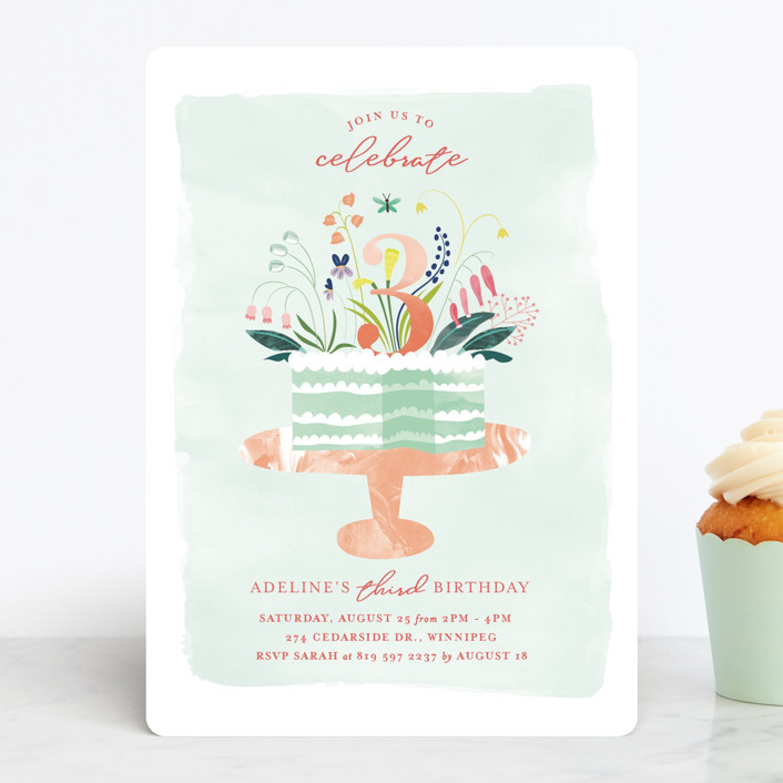 """Birthday Botanicals"" - Children's Birthday Party Invitations in Sweet Mint by Eve Schultz."
