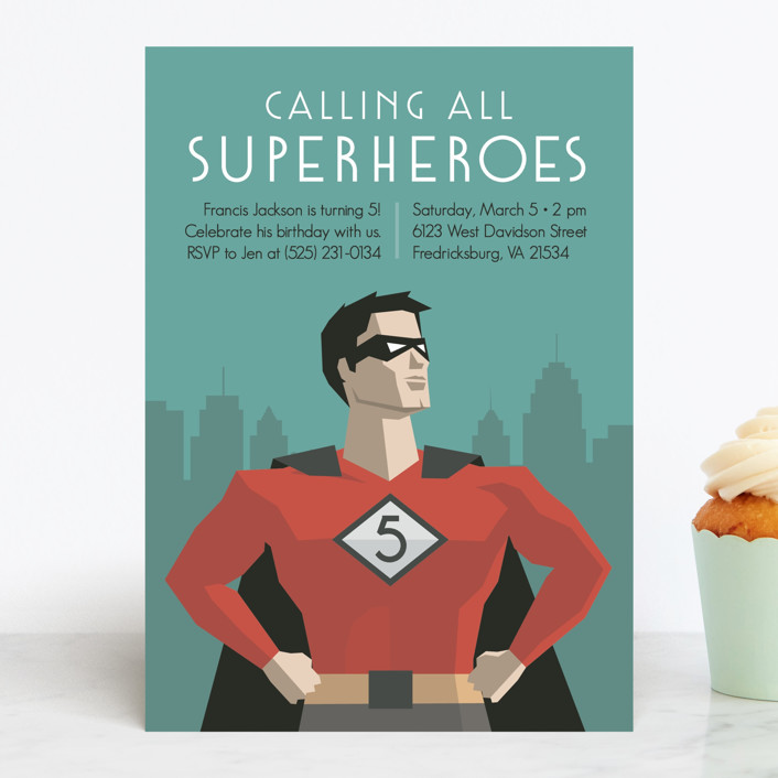 """Calling All Superheroes"" - Children's Birthday Party Invitations in Fire by Jessica Prout."