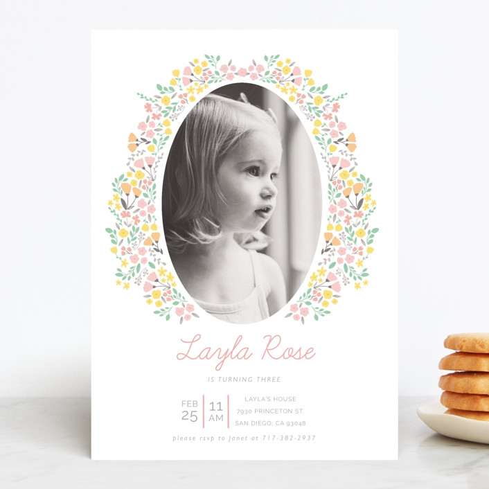 """""""Sweet Floral Frame"""" - Children's Birthday Party Invitations in Cupcake by Sara Berrenson."""