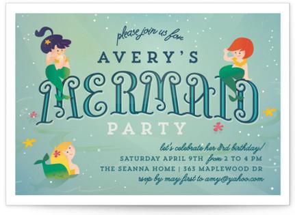 Mermaids Children's Birthday Party Invitations