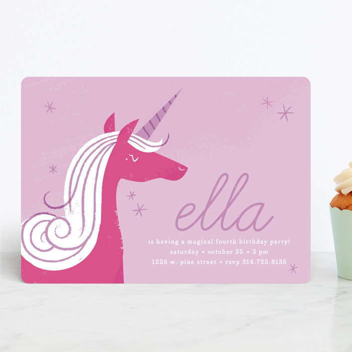 Sweet Unicorn Childrens Birthday Party Invitations