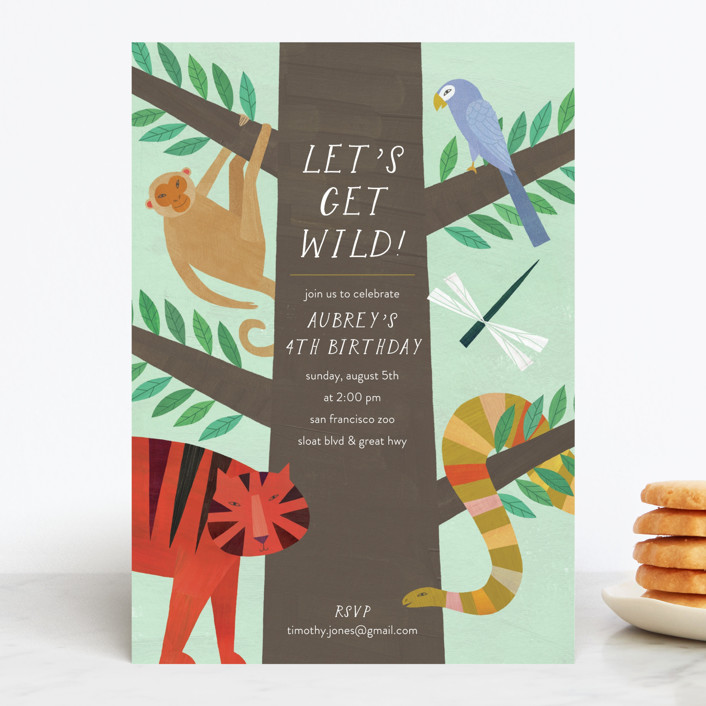 """Jungle Animals"" - Children's Birthday Party Invitations in Forest by melanie mikecz."