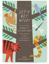 This is a green kids birthday invitation by melanie mikecz called Jungle Animals with standard printing on signature in standard.