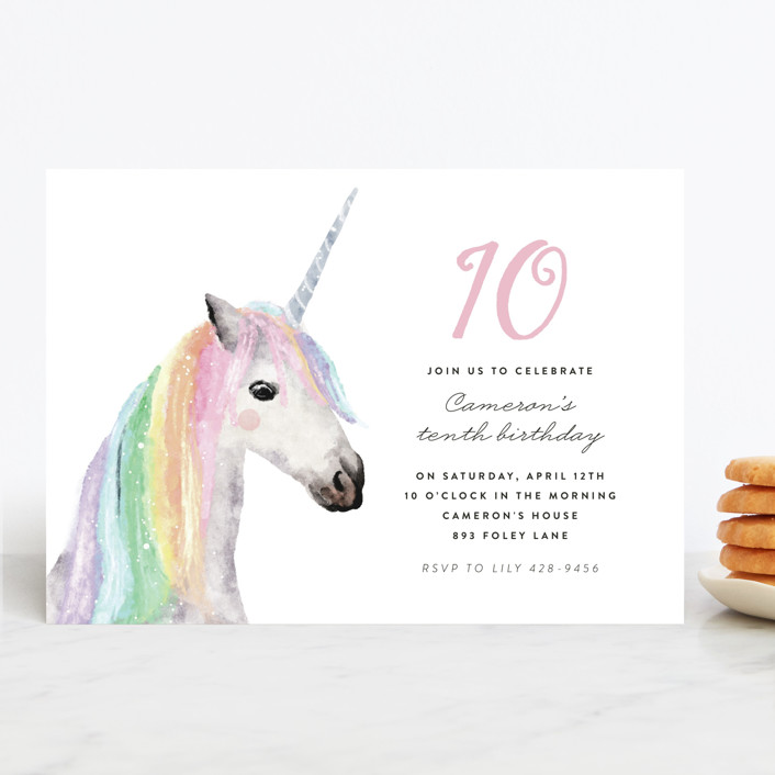 """rainbow unicorn"" - Children's Birthday Party Invitations in Peony by Cass Loh."