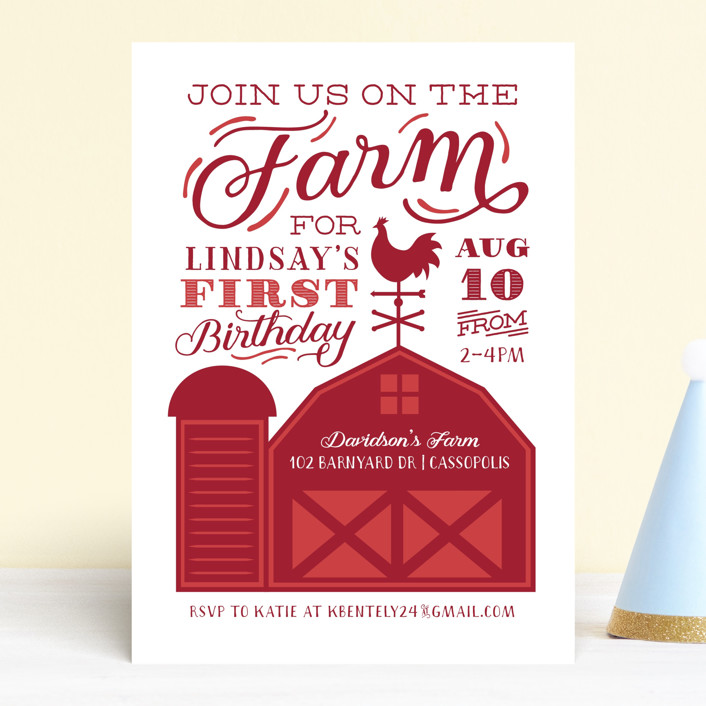"""""""Farm Party"""" - Children's Birthday Party Invitations in Crimson by Sarah Brown."""