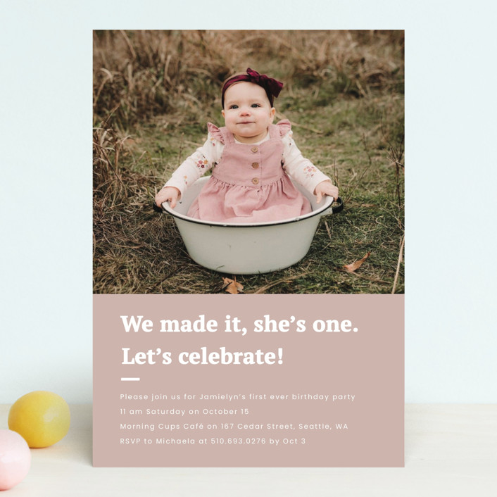 """""""Made it"""" - Children's Birthday Party Invitations in Blush by Adelyn T.."""
