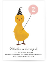 This is a pink kids birthday invitation by Joanne James called Duckie Party with standard printing on signature in standard.