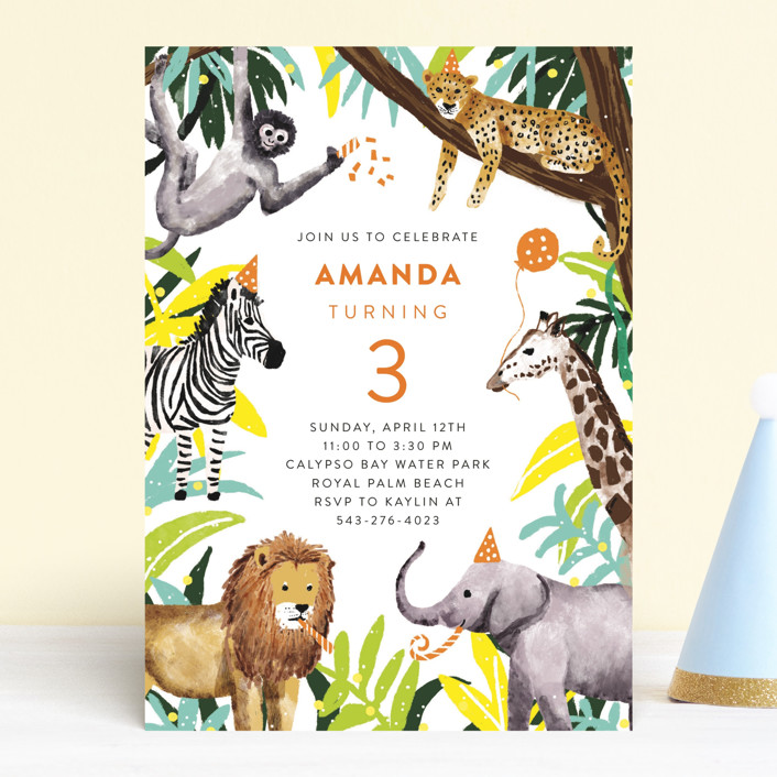 """""""Jungle Party"""" - Children's Birthday Party Invitations in Dragon Fruit by Cass Loh."""