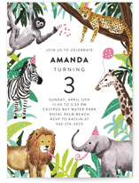 This is a green kids birthday invitation by Cass Loh called Jungle Party with standard printing on signature in standard.