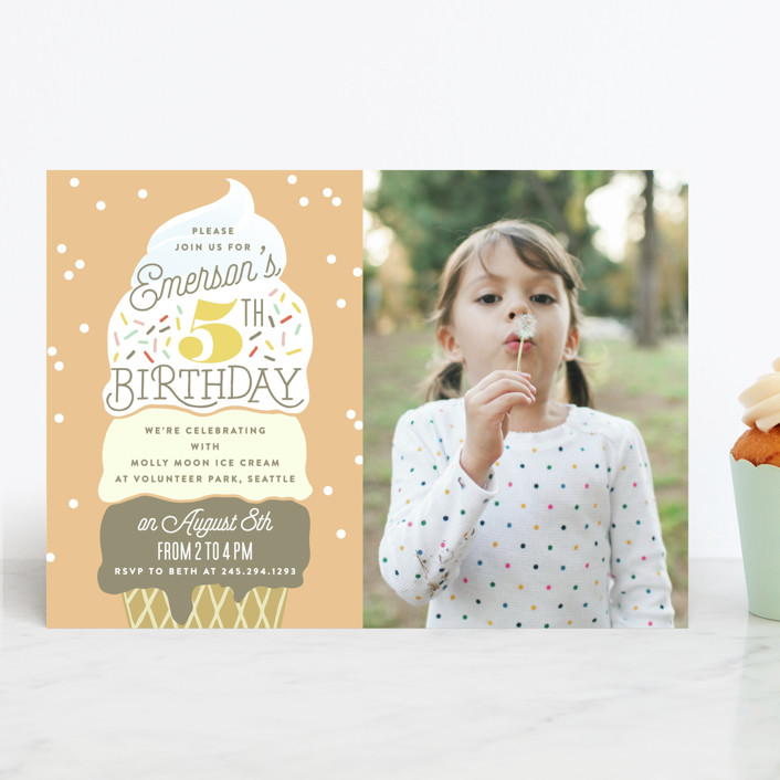 """""""Ice Cream Cone"""" - Children's Birthday Party Invitations in Frozen by Alethea and Ruth."""
