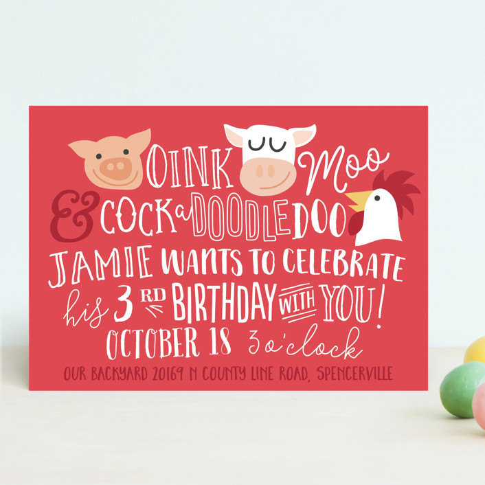 """Oink & Moo"" - Children's Birthday Party Invitations in Candy Apple by Jessie Steury."
