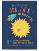 This is a blue kids birthday invitation by Cat Caudillo called Around The Sun with standard printing on signature in standard.
