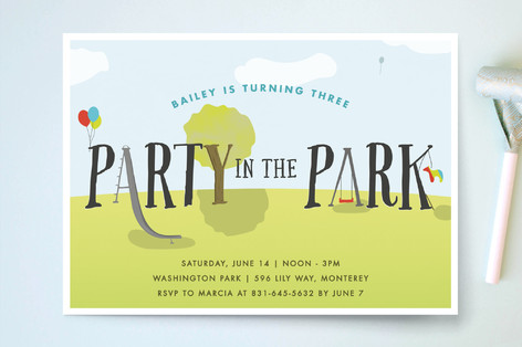 Party In The Park Children's Birthday Party Invitations
