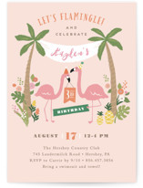 This is a pink kids birthday invitation by Jennifer Wick called Let's flamingle! with standard printing on signature in standard.