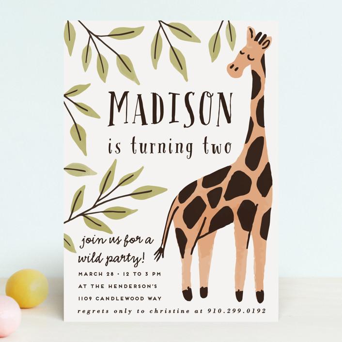 """Wild Giraffe"" - Children's Birthday Party Invitations in Mustard by Everett Paper Goods."