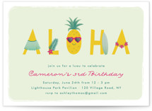 This is a green kids birthday invitation by Annie Holmquist called Aloha with standard printing on signature in standard.