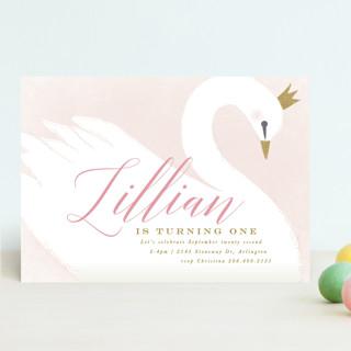 sweet swan princess Children's Birthday Party Invitations