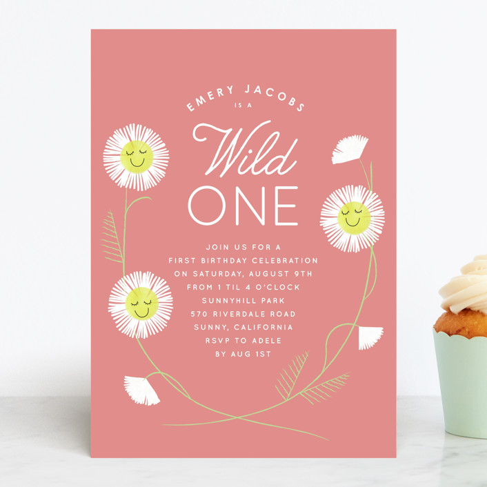 """Daisy Smiles"" - Children's Birthday Party Invitations in Petal by Baumbirdy."