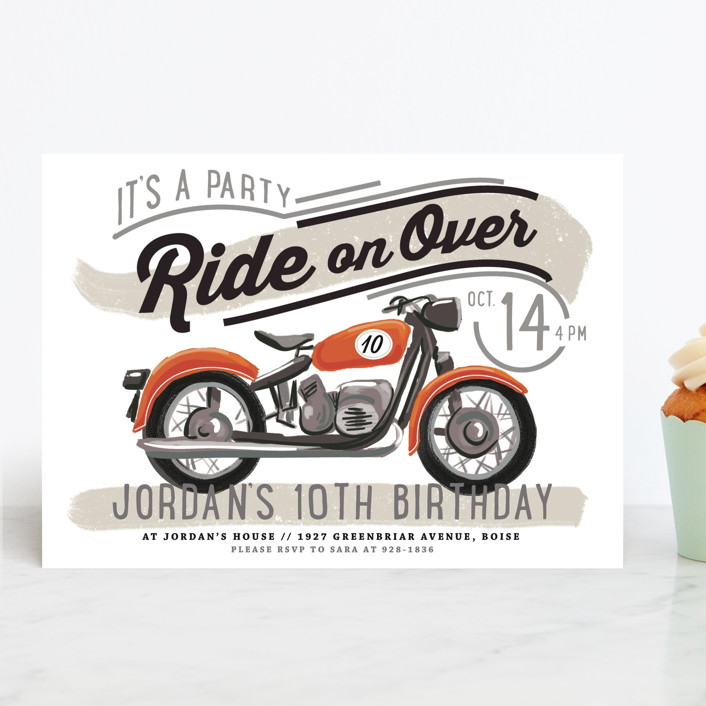 """birthday rider"" - Children's Birthday Party Invitations in Candy Apple by Rebecca Durflinger."