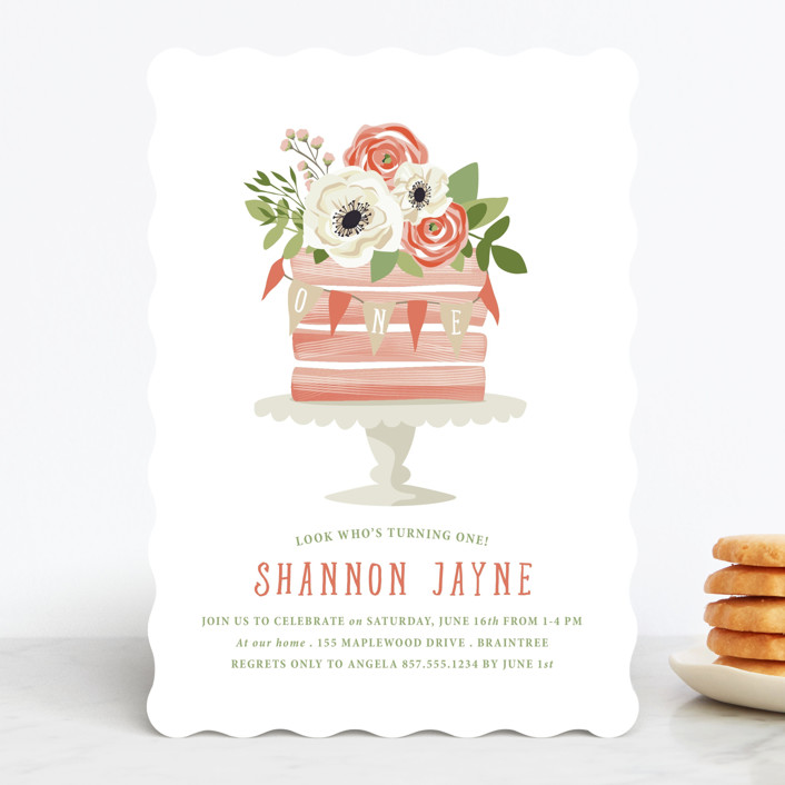 """Sophisticated One"" - Children's Birthday Party Invitations in Cherry Blossom by Paula Pecevich."