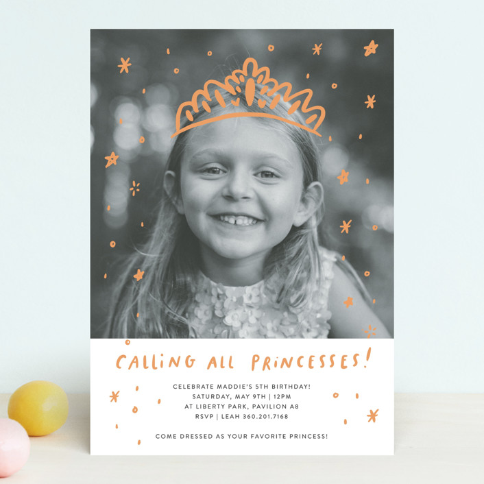 """Calling All Princesses"" - Children's Birthday Party Invitations in Blush by Half Pint Studio."