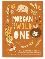 This is a orange kids birthday invitation by Vivian Yiwing called Go Wild with standard printing on signature in standard.