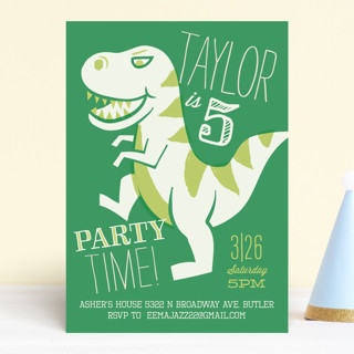 T Rex Riot Childrens Birthday Party Invitations
