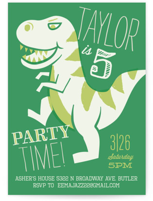 T Rex Riot Childrens Birthday Party Invitations By Jessie Steury