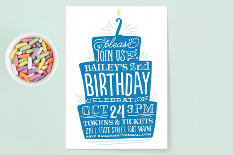 Birthday Cake Children's Birthday Party Invitations