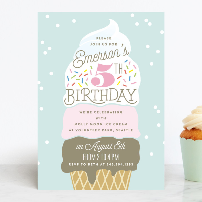 Ice Cream Cone Children S Birthday Party Invitations By Alethea And