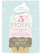 This is a blue kids birthday invitation by Alethea and Ruth called Ice Cream Cone with standard printing on signature in standard.