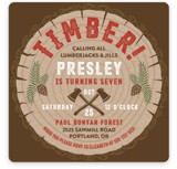 This is a red kids birthday invitation by Paper Sun Studio called Timber! with standard printing on signature in standard.
