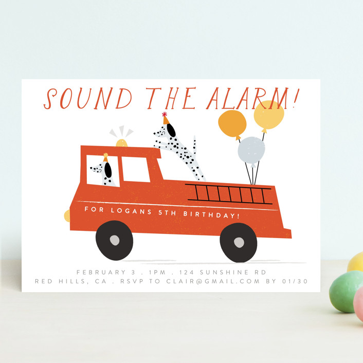 """""""Sound The Alarm!"""" - Children's Birthday Party Invitations in Dalmatian by Angela Thompson."""