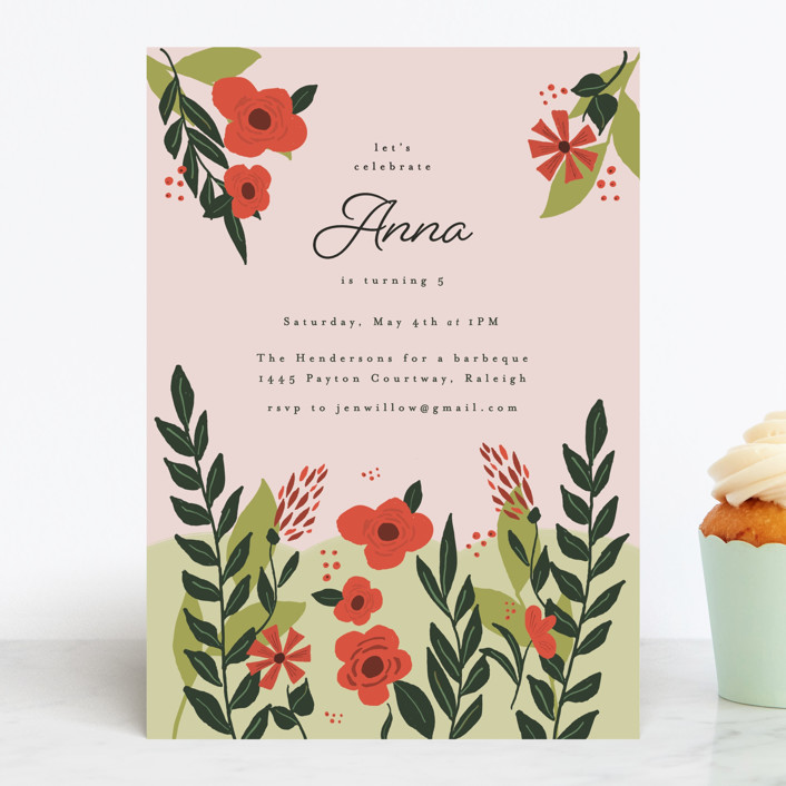 """""""Garden Party Joy"""" - Children's Birthday Party Invitations in Rouge by frances."""