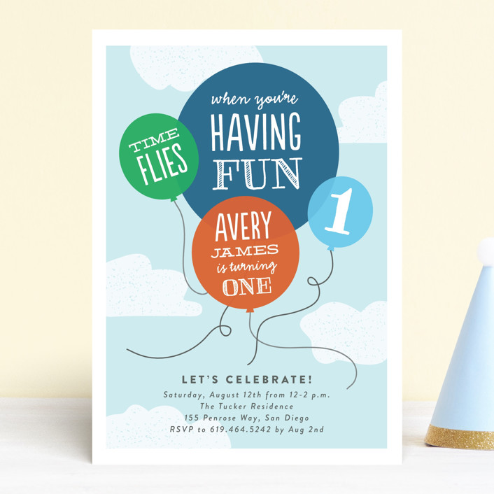 """How Time Flies"" - Children's Birthday Party Invitations in Sky by Erica Krystek."