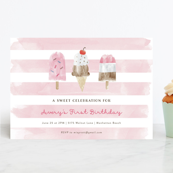 """Sweet Treats"" - Children's Birthday Party Invitations in Bubblegum by Shirley Lin Schneider."