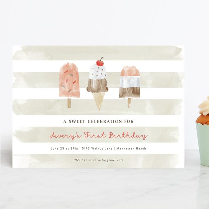 """""""Sweet Treats"""" - Children's Birthday Party Invitations in Bubblegum by Shirley Lin Schneider."""