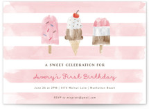 This is a pink kids birthday invitation by Shirley Lin Schneider called Sweet Treats with standard printing on signature in standard.