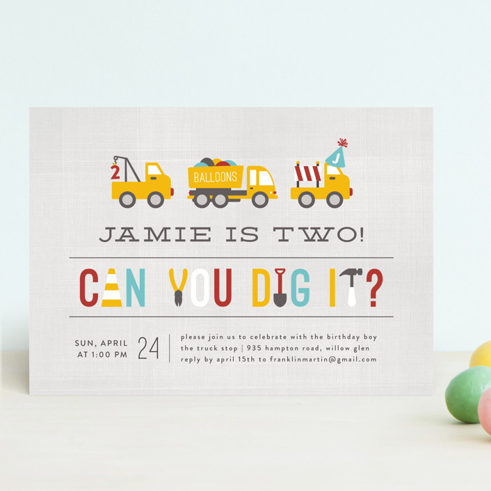 """Dig It"" - Children's Birthday Party Invitations in Firetruck by Michelle Poe."
