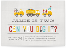 This is a red kids birthday invitation by Michelle Poe called Dig It with standard printing on signature in standard.