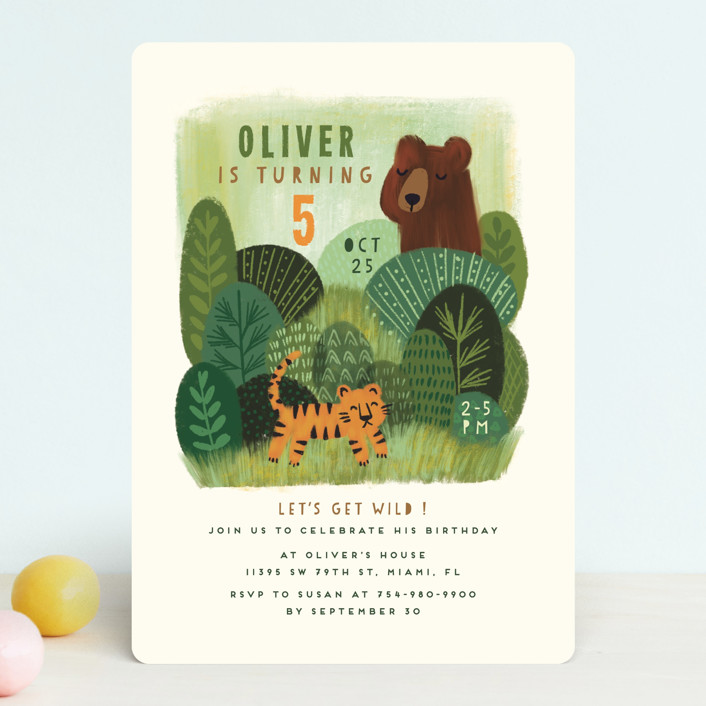 """""""Bear and Tiger"""" - Children's Birthday Party Invitations in Forest by iamtanya."""