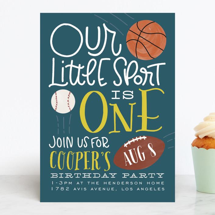 """Sports Fan"" - Children's Birthday Party Invitations in Navy by Leah Bisch."