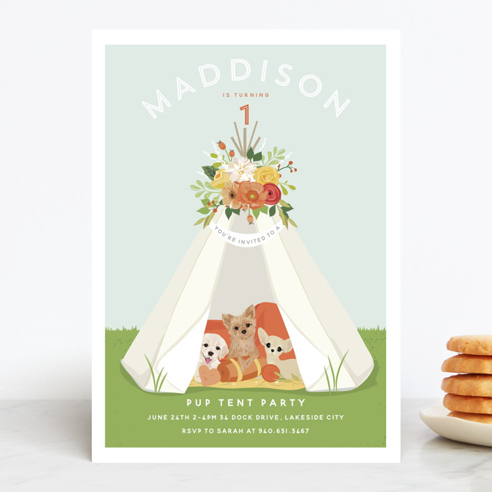 """Pup Tent Party"" - Children's Birthday Party Invitations in Bubble Gum by Susan Moyal."