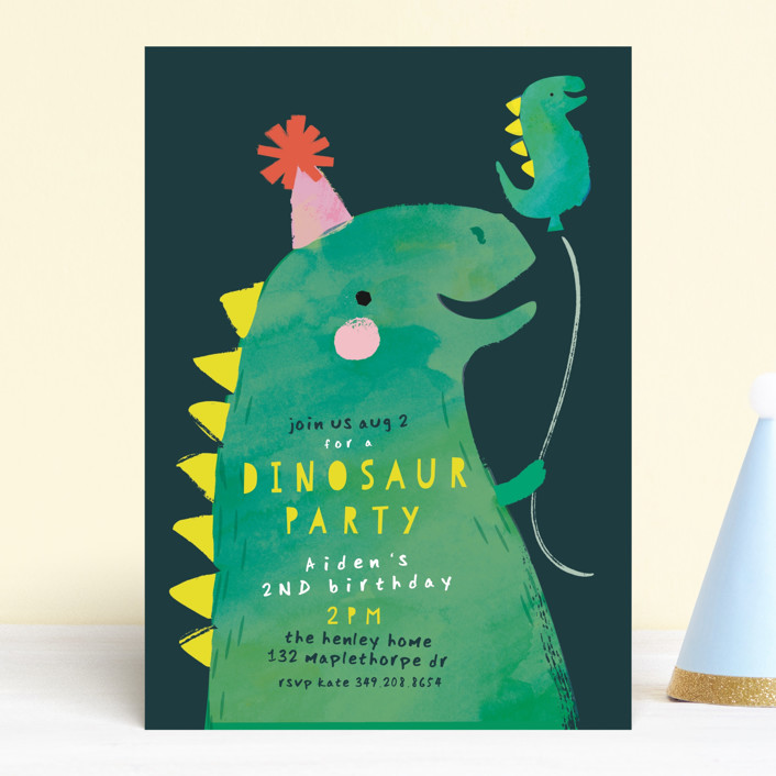 """""""Dinosaur Balloon"""" - Children's Birthday Party Invitations in Teal by Lori Wemple."""